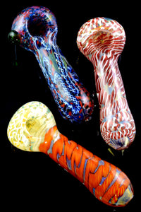 Thick Color Changing Multicolor Striped Glass Pipe - P2165