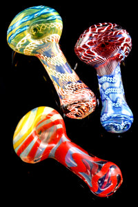 Small Color Changing Multicolor Striped Glass Pipe - P2191