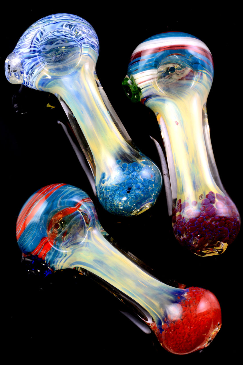 Thick Color Changing Swirl Stripe Frit Glass Pipe - P2194