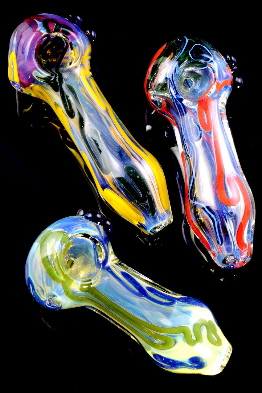 Thick Colorful Striped Color Changing Glass Pipe - P2275