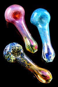 Colorful Silver Fumed Frit Color Changing Glass Pipe - P2276