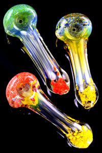 Color Changing Silver Fumed Multicolor Frit Glass Pipe - P2277
