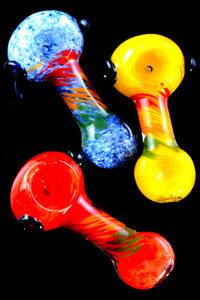 Colorful Frit Rasta Stripe Glass Pipe - P2286
