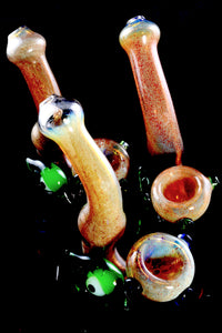 Color Changing Silver Fumed Frit Eyeball Sherlock Glass Pipe - P2291