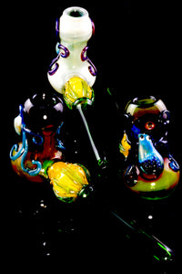 Unique Silver Fumed Color Changing Octopus Glass Hammer Pipe - P2292