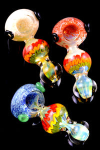 Thick Color Changing Silver Fumed Frit Rasta Stripe Glass Pipe - P2306