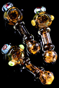 Thick Gold Fumed Frit Flower Marble Glass Pipe - P2308