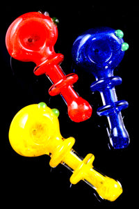 Small Colorful Frit Ring Glass Pipe - P2344