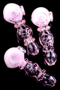 Pink Colored Frit Glass Pipe - P2347