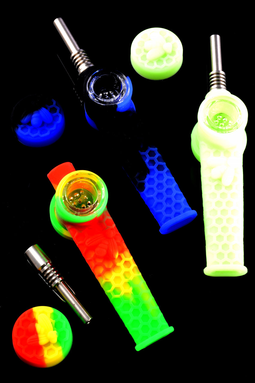 Colorful Silicone 2 in 1 Nectar Straw Hand Pipe - P2357