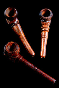 (Mix) Small Carved Wood Pipe - W0211