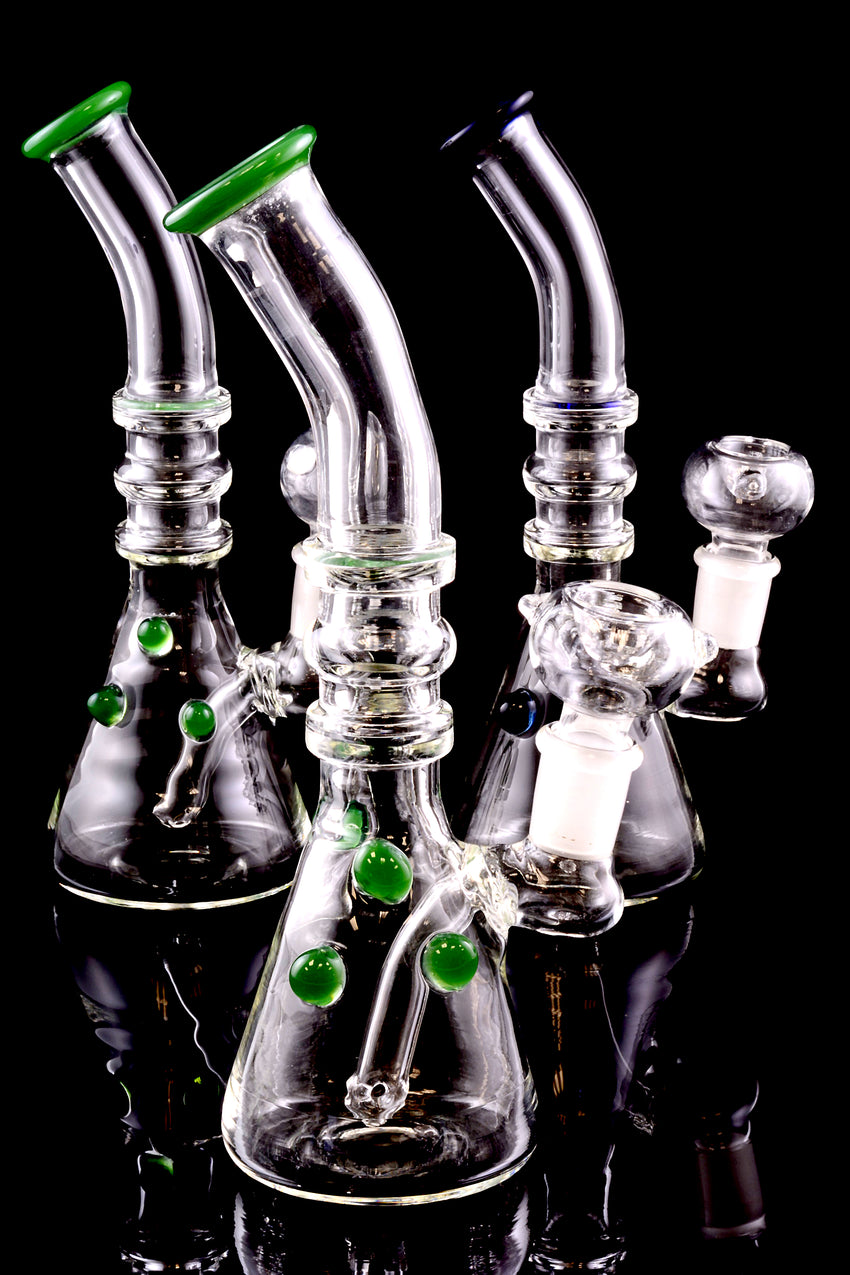 Medium Bent Neck Stemless Glass on Glass Water Pipe with Inline Downstem - WP1411