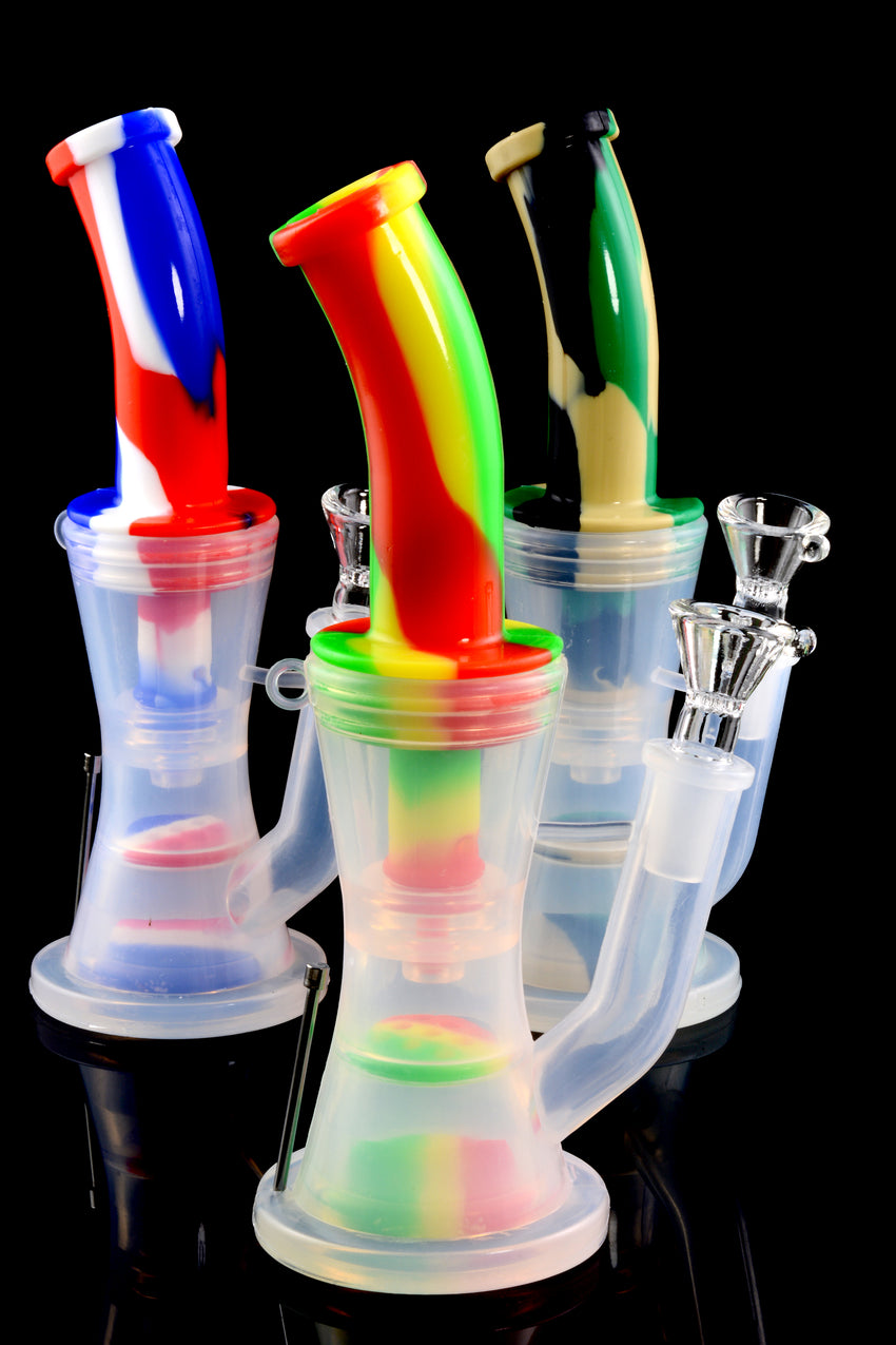 Colorful Small 2 Part Silicone Water Pipe with Honeycomb to Dome Percs - WP1495