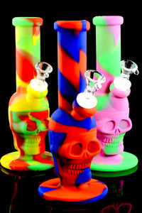 Colorful Small 2 Part Silicone Skull Water Pipe- WP1499