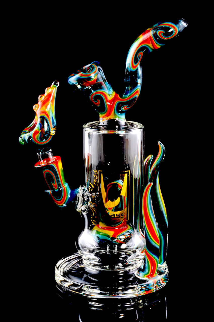 Stemless Spiked Reverse Colorful GoG Water Pipe with Stemline Perc - WP1509