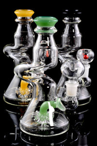 Small Colored Zig Zag Water Pipe with Sprinkler Percolator - WP1529