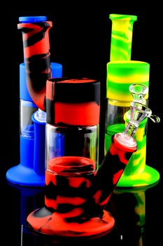 Colorful Silicone Water Pipe with Glass Chamber - WP1556