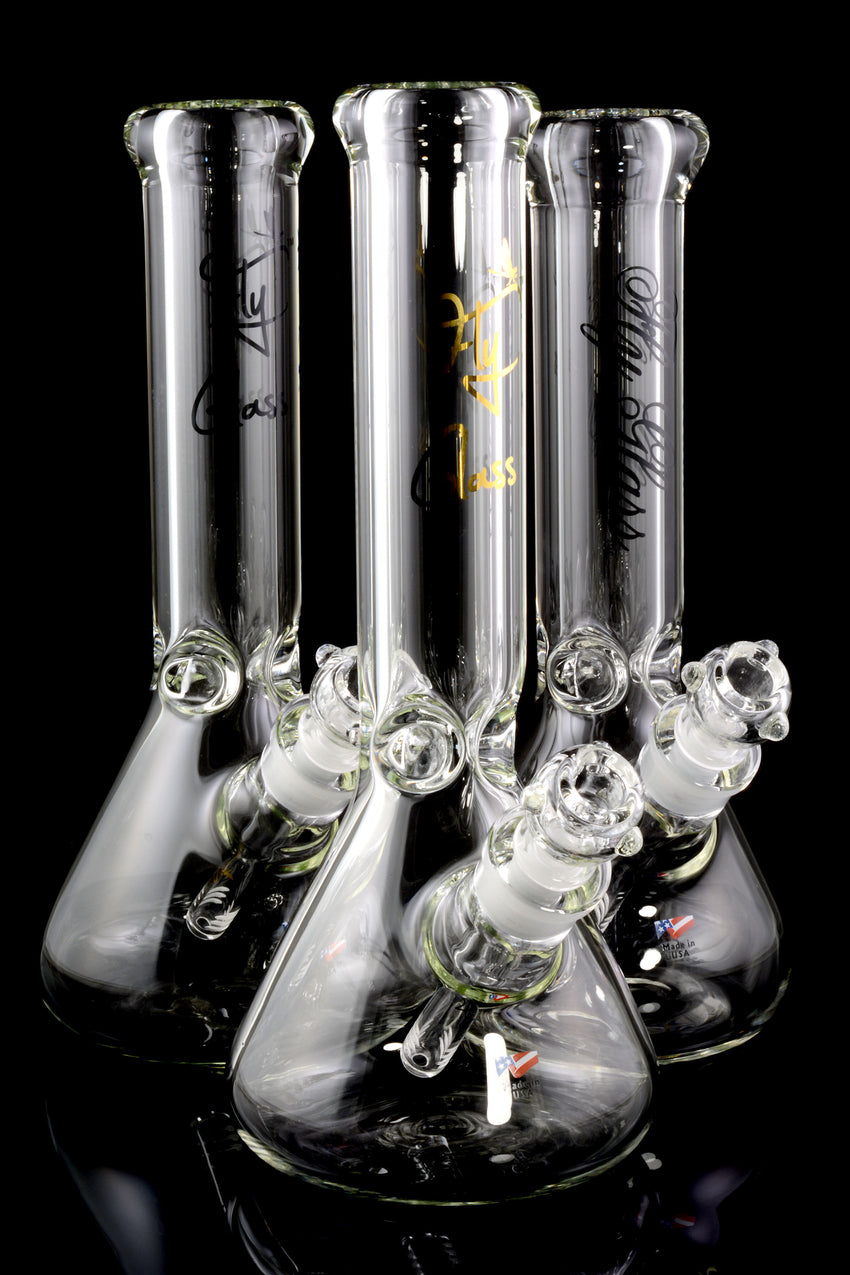 (US Made) Fly Glass Medium 9mm Thick Clear Beaker Water Pipe - WP1570