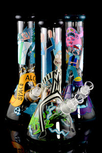 (Mix) 7mm Hand Painted Glow in the Dark R&M Water Pipe - WP1571