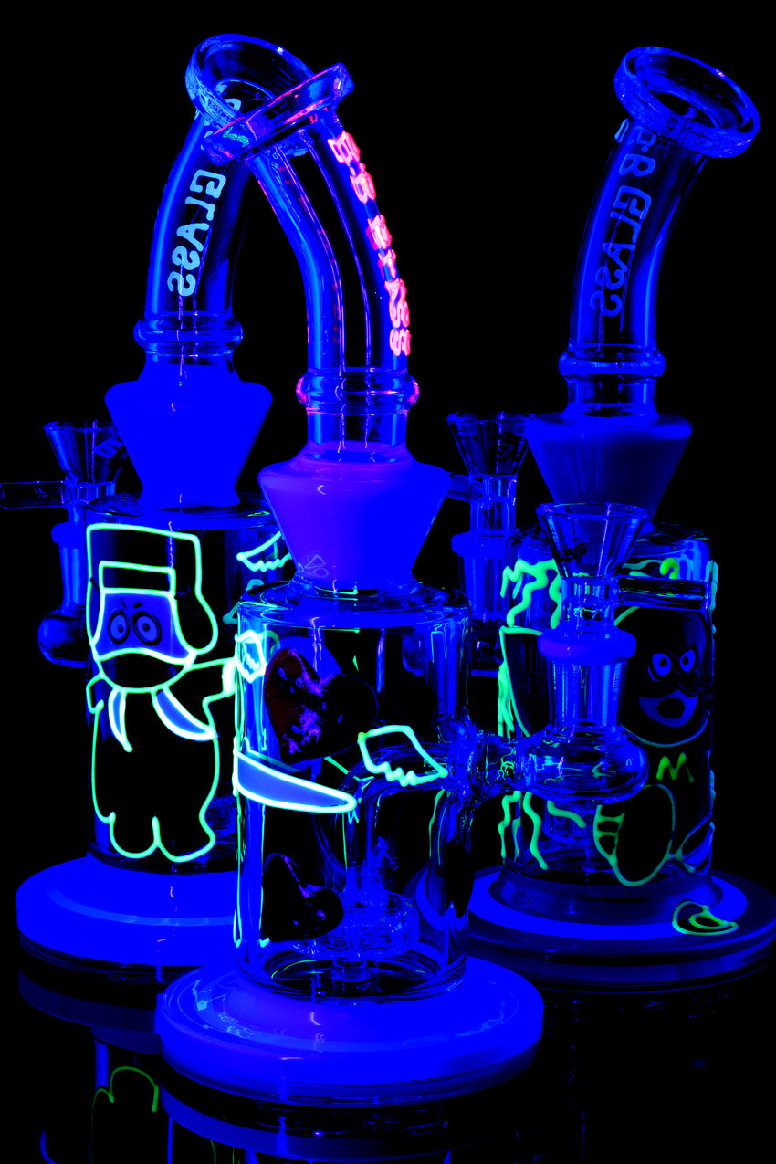 Small Stemless GoG Glow in the Dark Design Water Pipe - WP1611