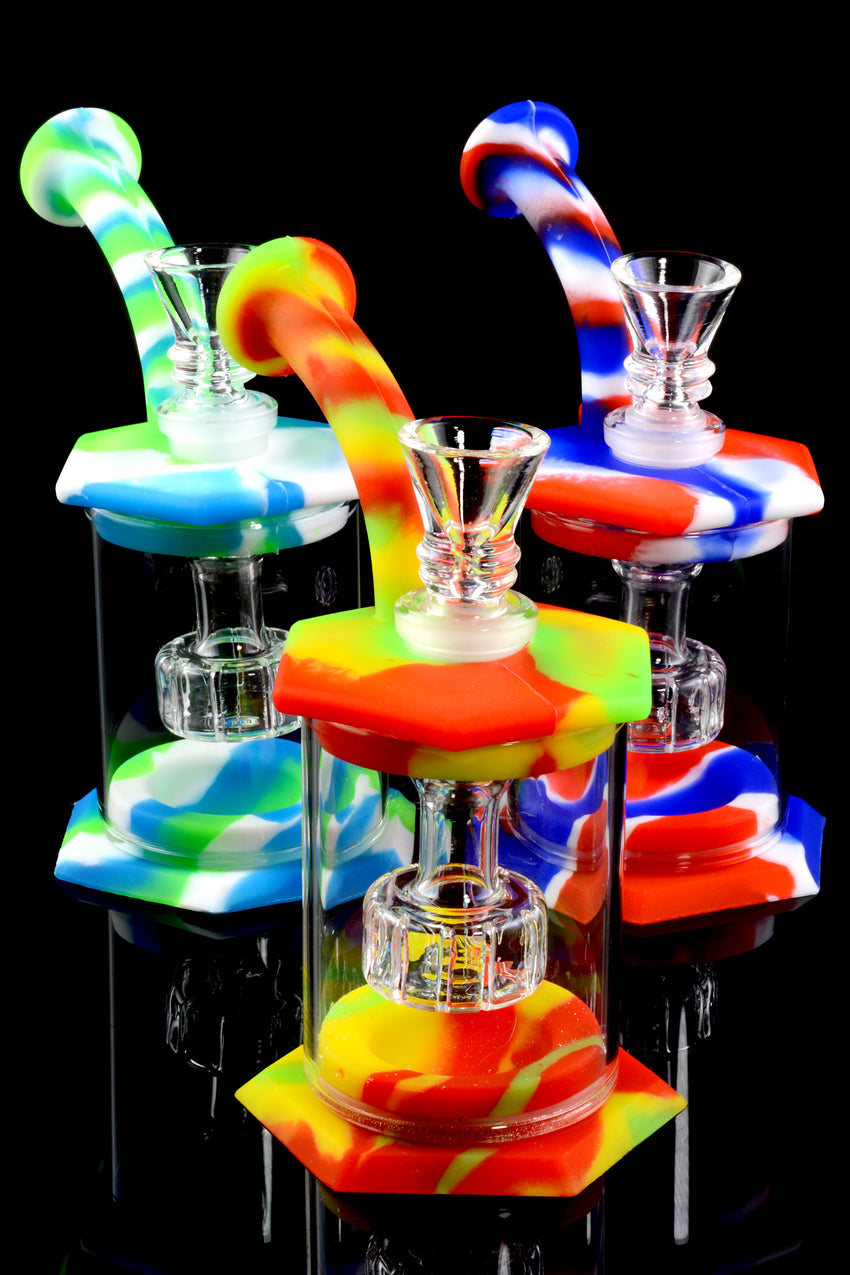 Mini Colorful Silicone Water Pipe with Glass Chamber - WP1647