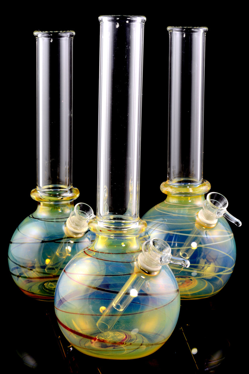 (US Made) Medium Color Changing Striped Glass Water Pipe - WP1690