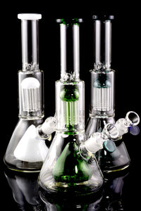 Medium Thick Stemless GoG Beaker Water Pipe with Stereo Percs - WP1731