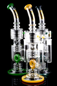 Large Colorful Thick GoG Straight Shooter Water Pipe with Donut Showerhead Perc - WP1788