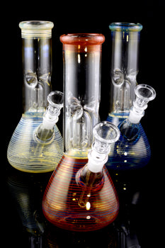 Small Striped Color Changing Beaker Water Pipe - WP1852