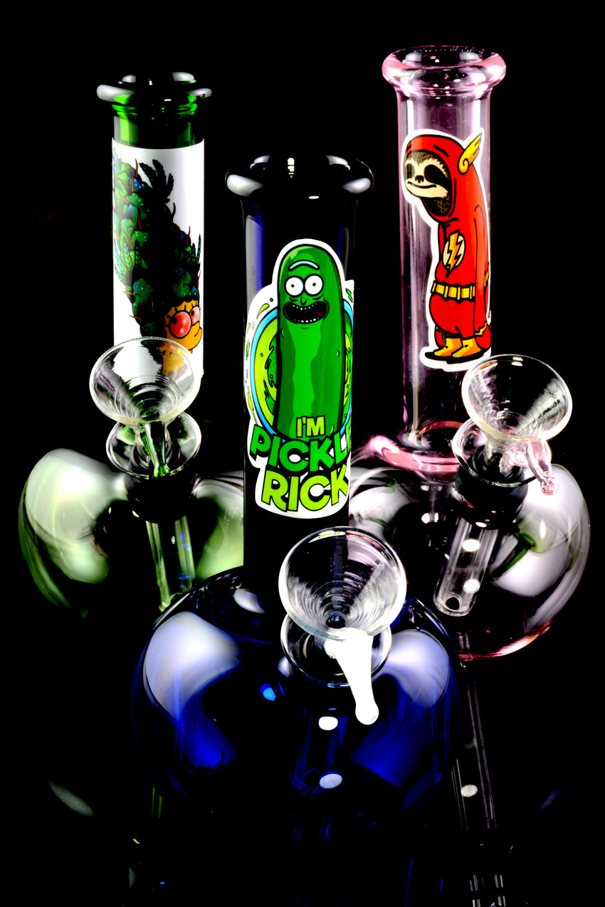 (US Made) Small Colored Glass Water Pipe with Sticker Decal - WP1882