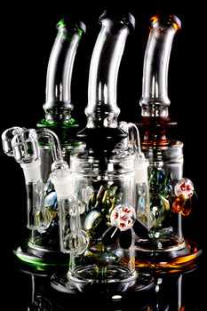Medium Stemless GoG Bent Neck Dab Rig with Metallic Claw Perc - WP1925