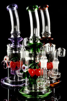 Medium Stemless GoG Cherry Dab Rig with Showerhead Perc - WP1926