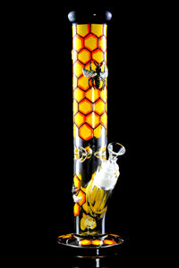 Thick Honey Bee Glass Straight Shooter Water Pipe - WP1940