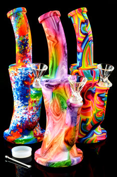 Psychedelic Small 2 Part Silicone Water Pipe with Honeycomb to Dome Percs - WP2064