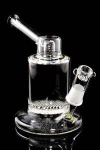 Clear Glass on Glass Stemless Water Pipe with Honeycomb Perc - WP2088