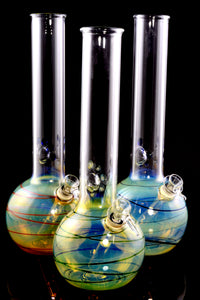 (US Made) Medium Color Changing Striped Glass Water Pipe - WP2100