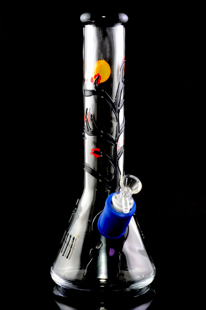 Large Thick Hand Painted Glass Beaker Water Pipe - WP2143