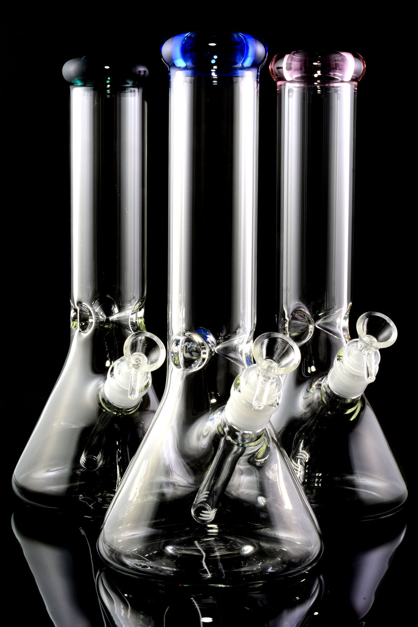 "Medium 12"" Glass on Glass Beaker Water Pipe with Ice Pinch - WP2183"
