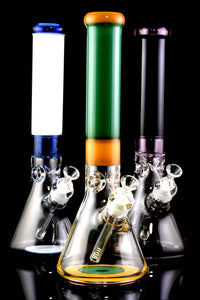 Thick Large 9mm Colored Glass on Glass Beaker Water Pipe with Ice Pinch - WP2186