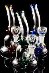 Small Stemless Glass on Glass Water Pipe with Showerhead Perc - WP2192