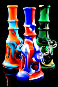 Small Colorful Silicone Glass Chamber Water Pipe - WP2201