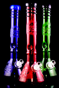Thick Large Glass on Glass Soft Glass Beaker Water Pipe with Ice Pinch - WP2206