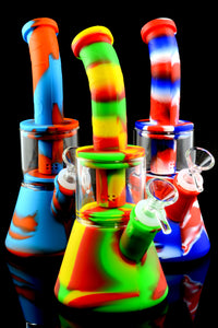 Small Colorful Silicone Glass Chamber Beaker Water Pipe with Dome Perc - WP2213
