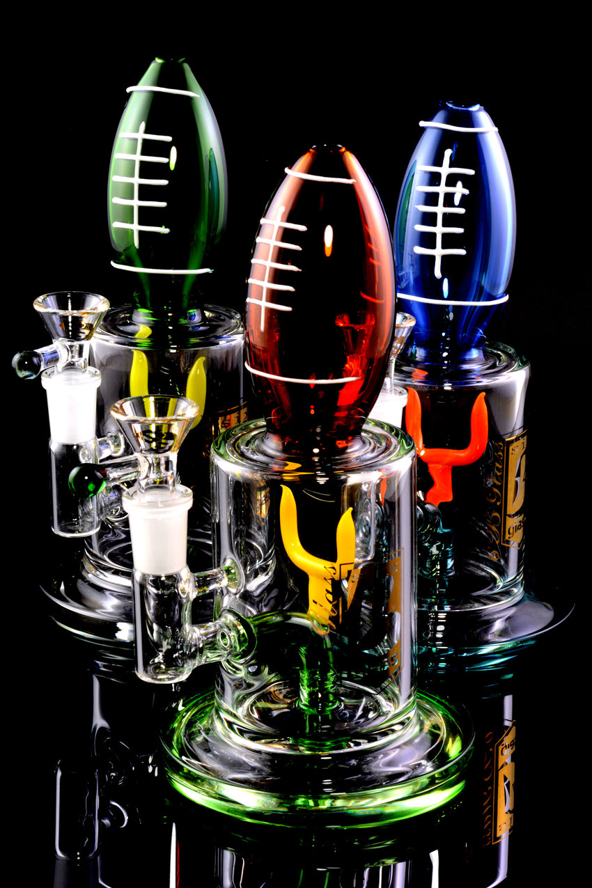 Small Stemless Glass on Glass Football Water Pipe - WP2221