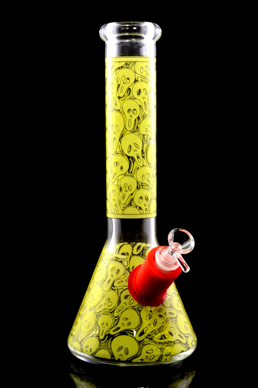 Thick Medium Decal Glass on Glass Beaker Water Pipe - WP2223