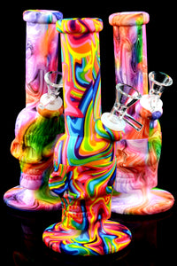Psychedelic Rainbow 2 Part Silicone Skull Water Pipe - WP2227