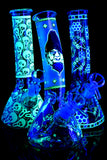 Small Glow in the Dark Glass on Glass Beaker Water Pipe - WP2232