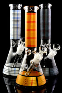 Medium Colorful Plaid GoG Beaker Water Pipe with Ice Pinch - WP2233