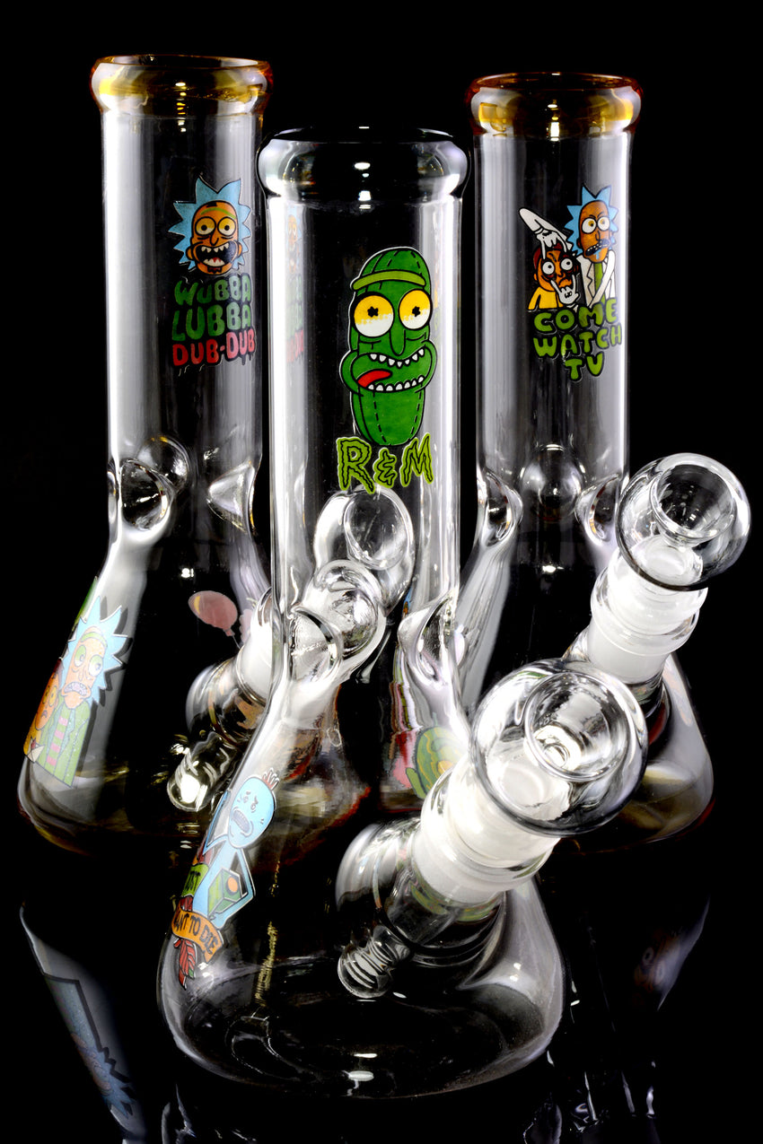 Small R&M Glass on Glass Beaker Water Pipe with Ice Pinch - WP2249