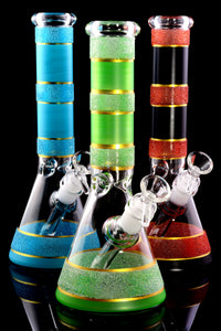 Medium Multicolor Striped GoG Beaker Water Pipe with Ice Pinch - WP2273